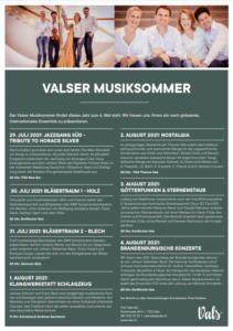 Valser Musiksommer 2021, Juli - August