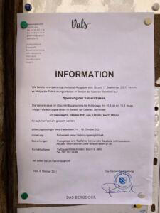 Information Sperrung der Valserstrasse